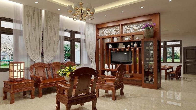 Nội thất phòng khách đẹp bằng gỗ