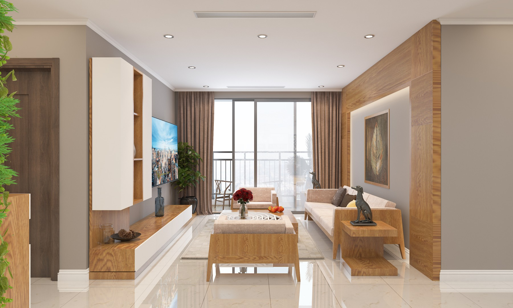 Nội thất phòng khách đẹp bằng gỗ 10