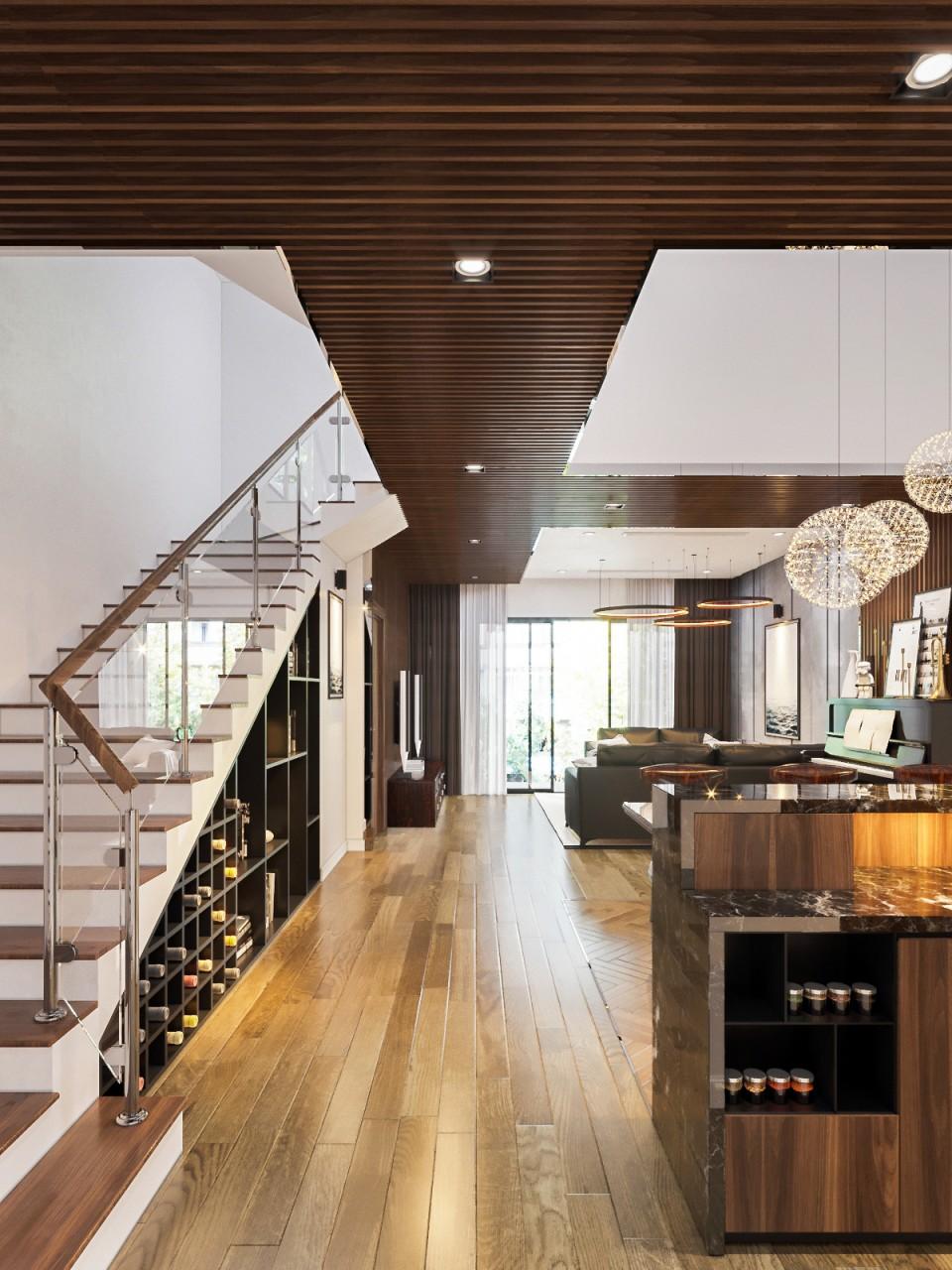 Nội thất phòng khách đẹp bằng gỗ 11
