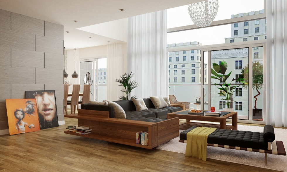 Nội thất phòng khách đẹp bằng gỗ 2