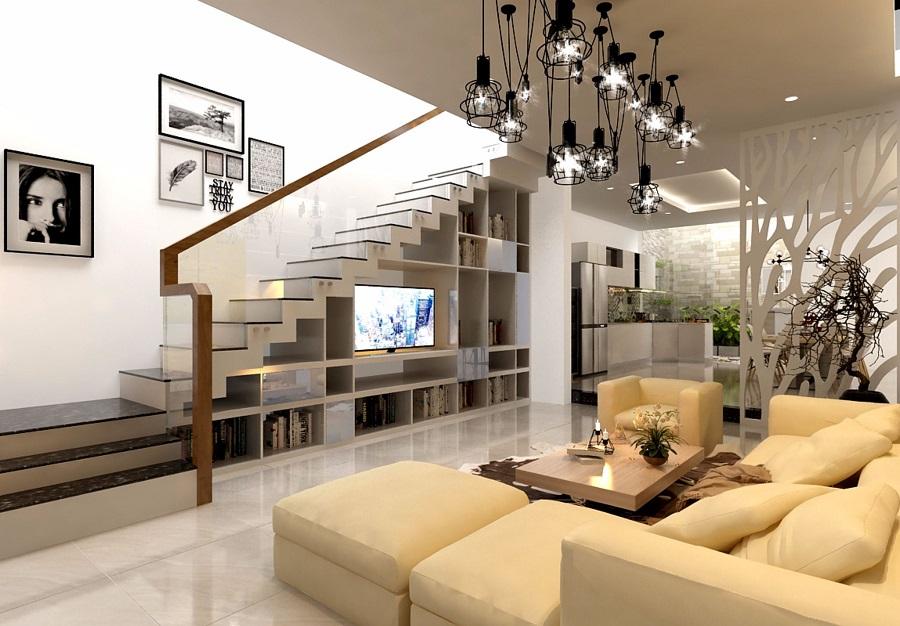 Nội thất phòng khách đẹp có cầu thang 5