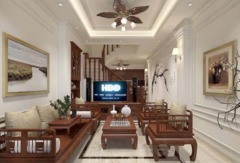 Phòng khách nhà ống 4m 4