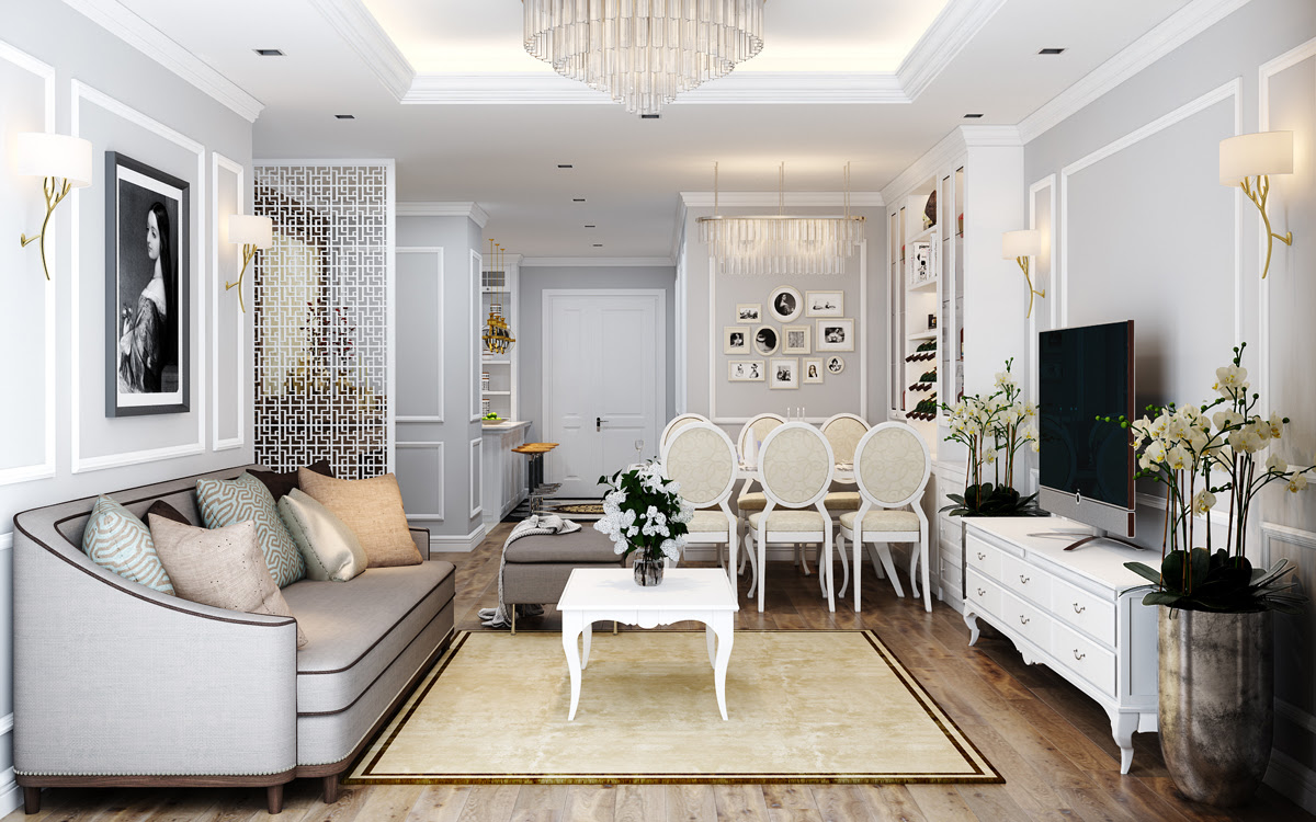 Thiết kế nội thất nhà phố cổ điển 11