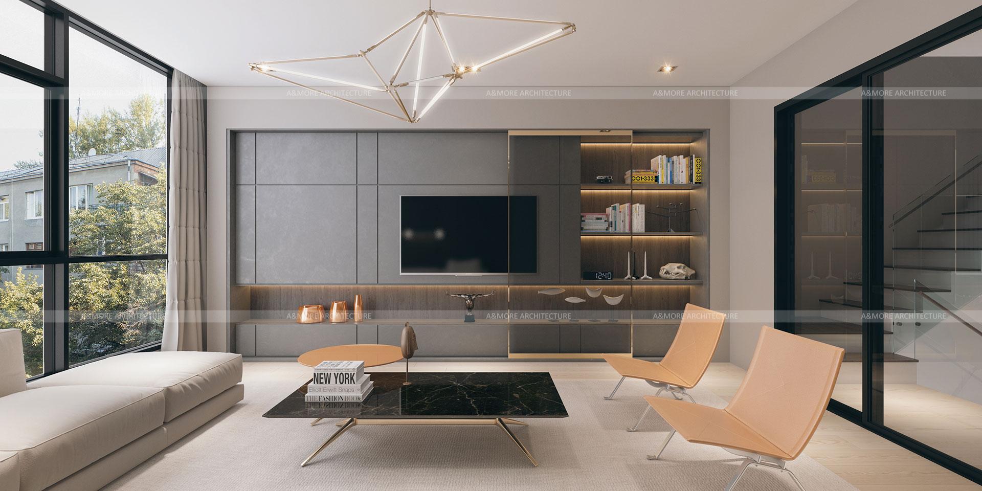 thiết kế nội thất nhà phố hiện đại 1