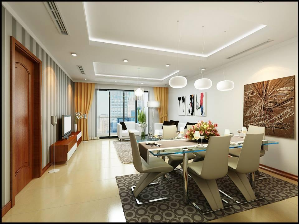 Thiết kế nội thất phòng khách liền bếp căn hộ chung cư cao cấp Pacific Palace