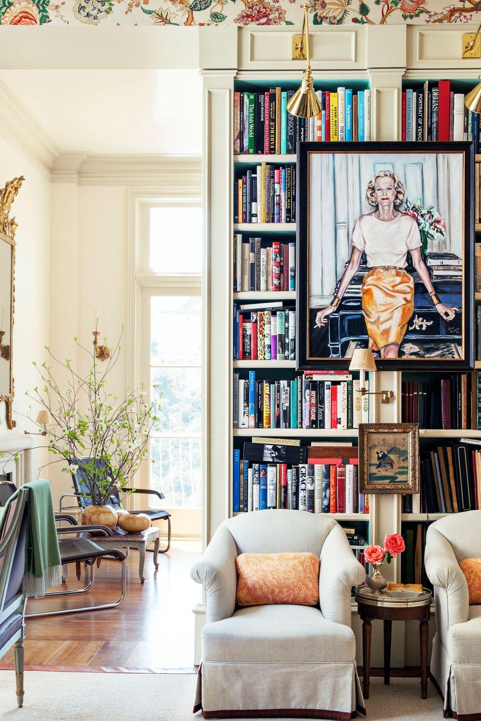 Tủ sách trong phòng khách