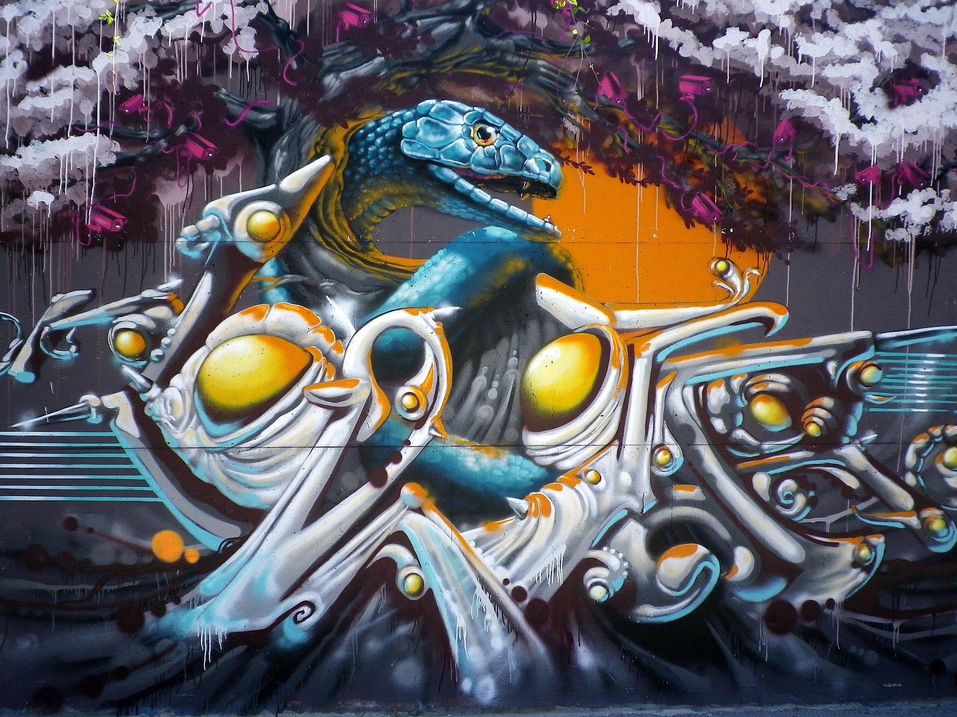 Một tranh phun sơn trên tường ở Hall of Fame, Ingolstadt, Đức.