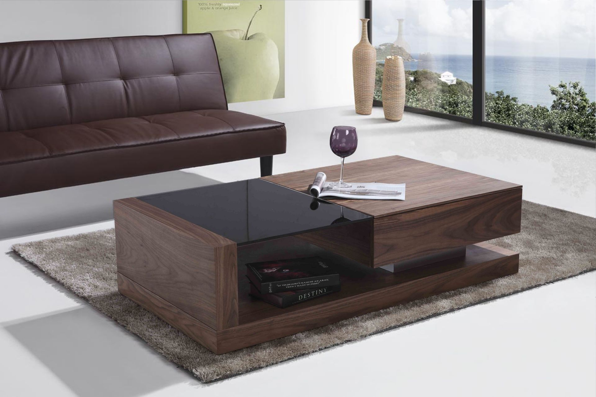 Phòng khách sofa gỗ óc chó 1