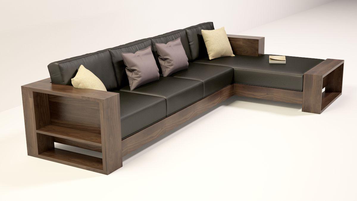 Phòng khách sofa gỗ óc chó 2