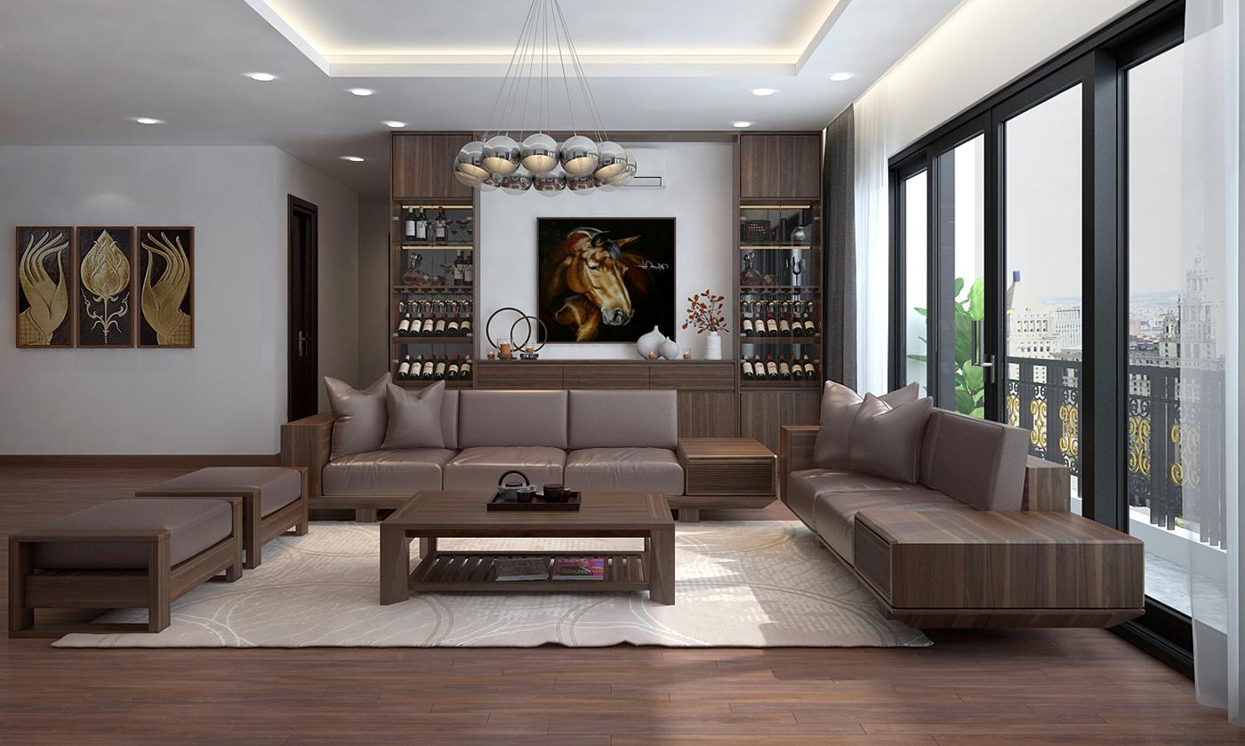 Phòng khách sofa gỗ óc chó