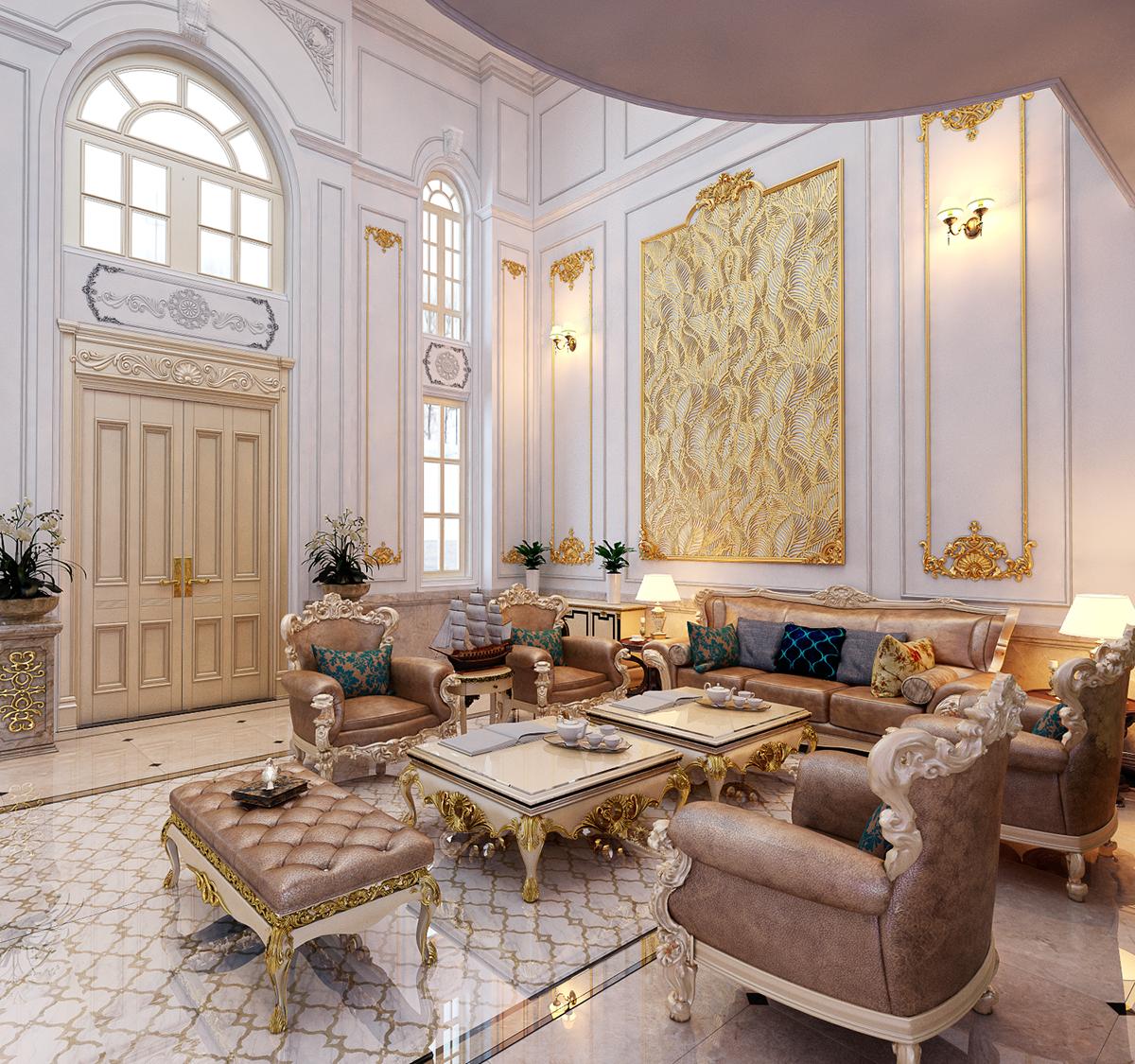 Phòng khách thiết kế Tân Cổ Điển