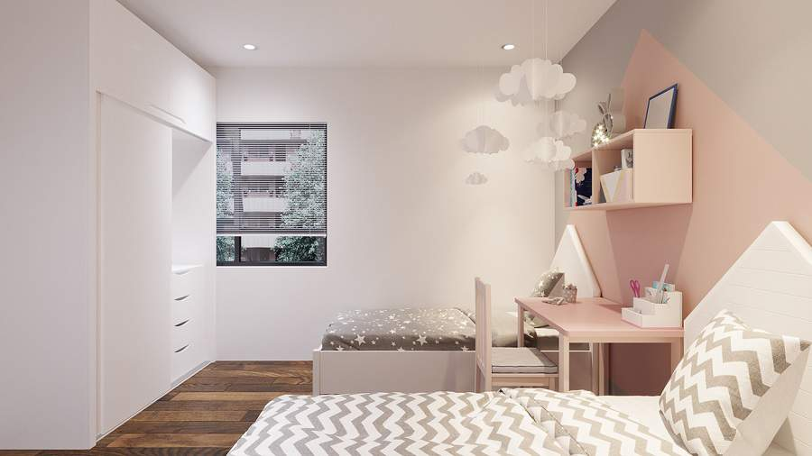 Phòng ngủ chung cư dễ thương