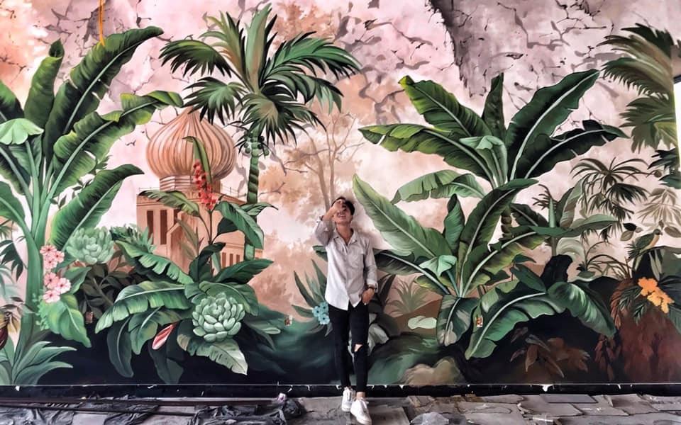 Thi công vẽ tranh tường Phòng khách đẹp 2