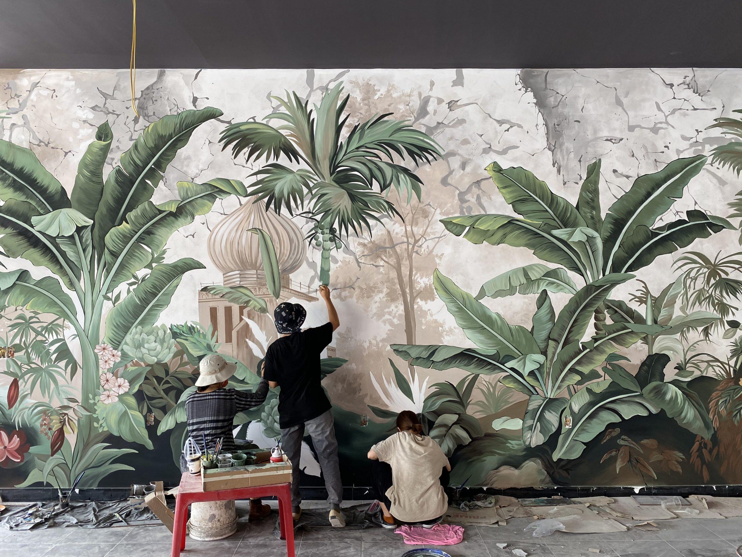 Thi công vẽ tranh tường Phòng khách đẹp 3