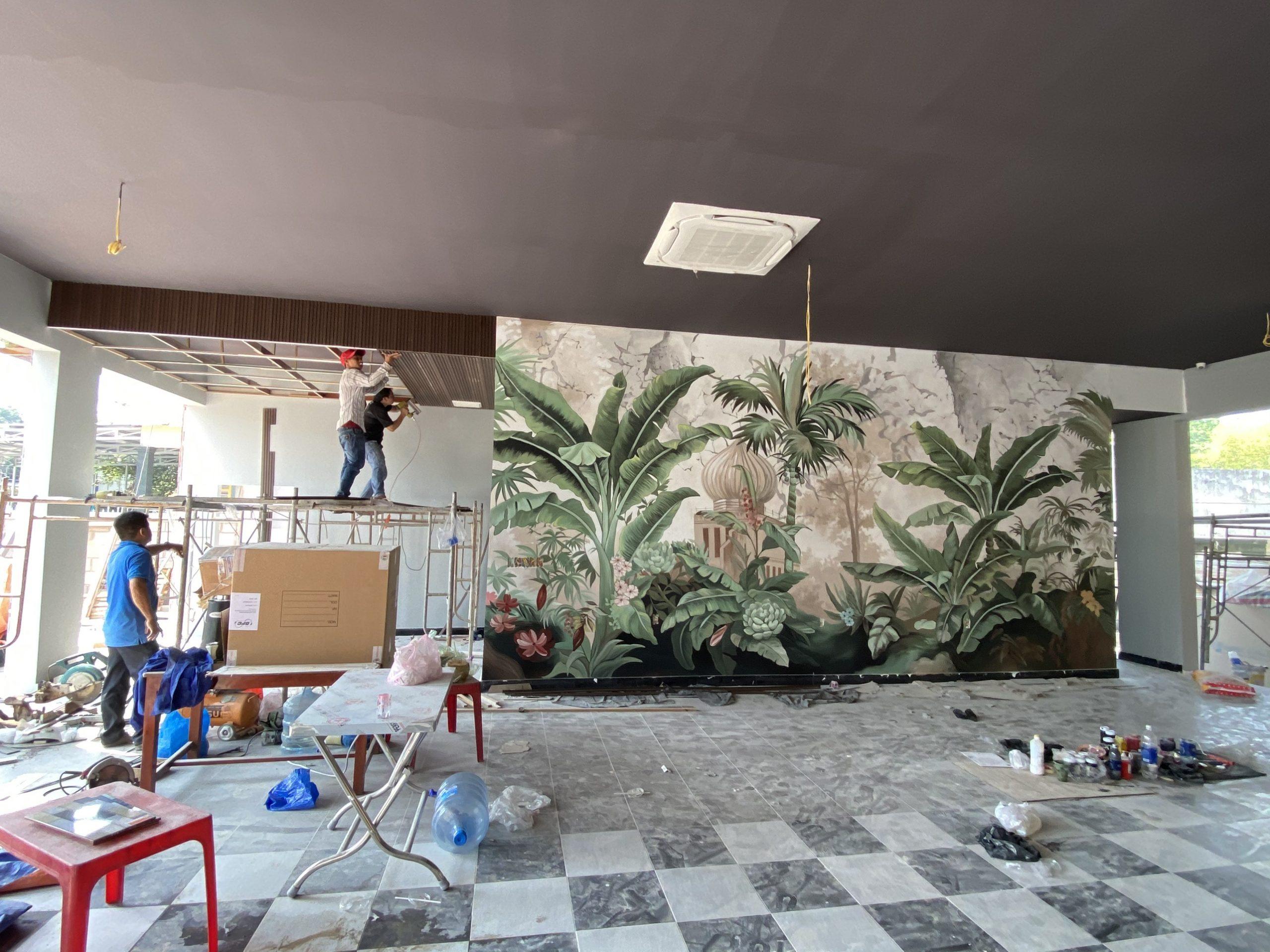 Thi công vẽ tranh tường Phòng khách đẹp 5