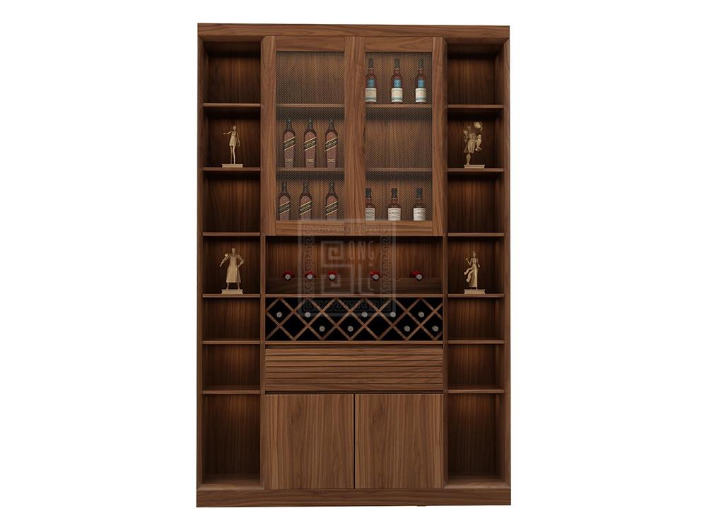 Thiết kế tủ rượu hiện đại gỗ óc chó