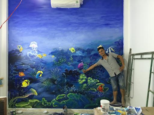 Vẽ tranh tườngđại dương ở quán cafe