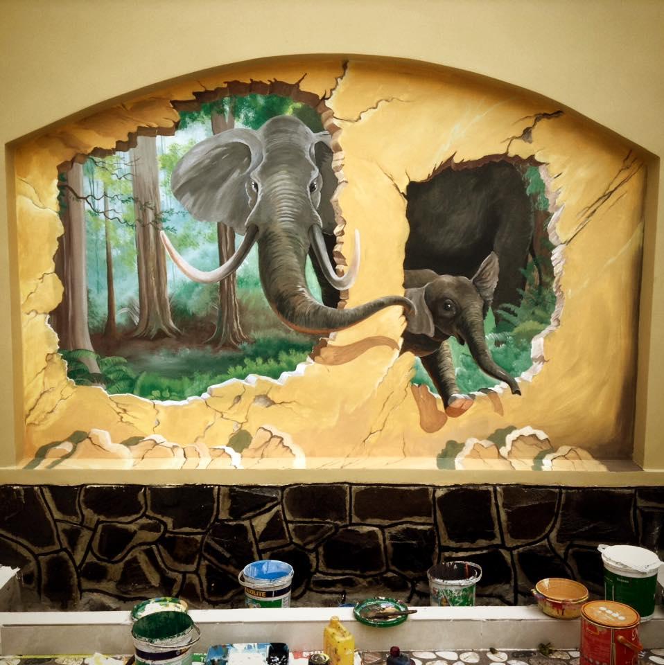 Vẽ tranh tường3d phong cảnh đẹp