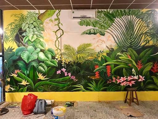 Vẽ tranh tường3d phong cảnh rừng già