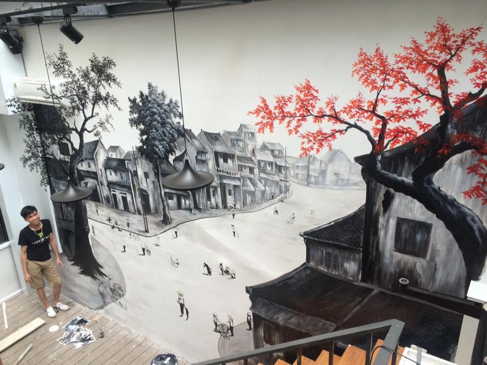 Vẽ tranh tường cầu thang khách sạn