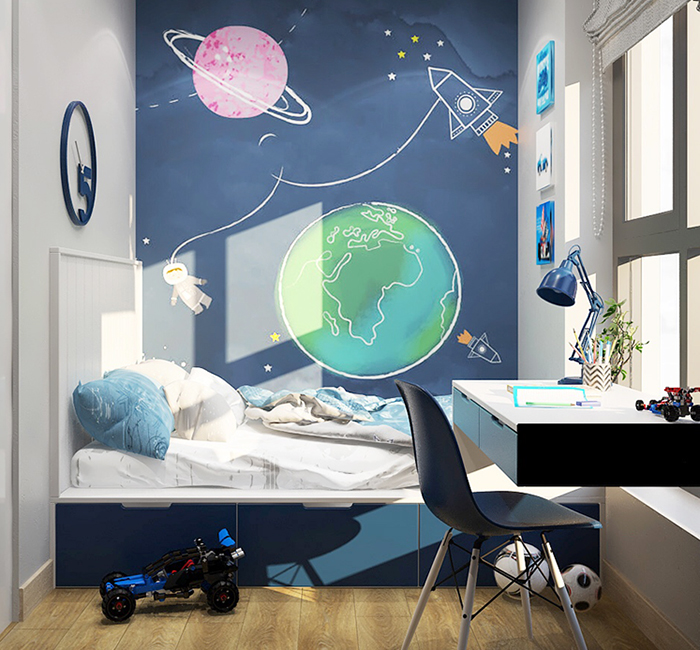 Vẽ tranh tườngcho bé trai thích Khoa Học