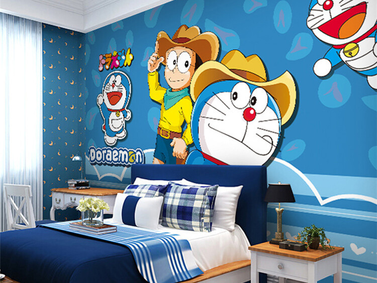 Vẽ tranh tườngdoremon phòng ngủ