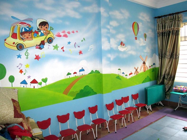 Vẽ tranh tường lớp học cho các bé