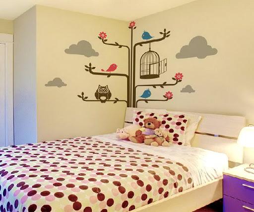 Vẽ tranh tường phòng ngủcho bé đẹp