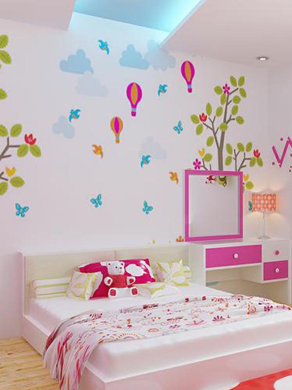 Vẽ tranh tường phòng ngủcho bé gái dễ thương