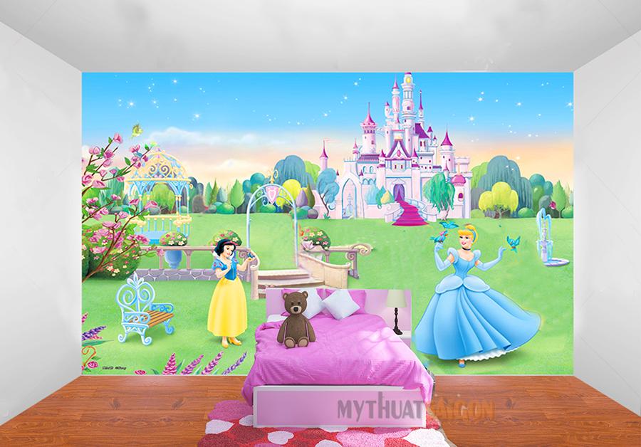 Vẽ tranh tường phòng ngủcho bé gái