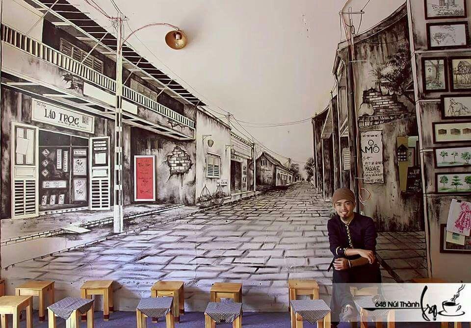 Vẽ tranh tườngbằng bút chì ở quán cafe