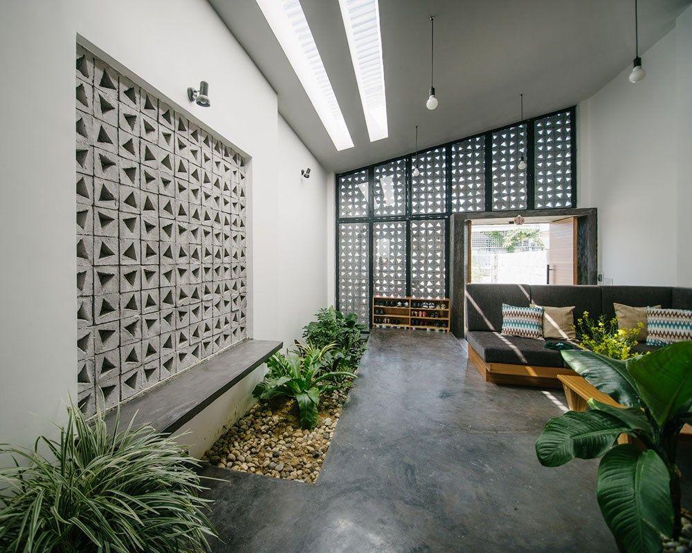 Thiết kế kiến trúc nhà thêm những bức tường bằng gạch bông gió