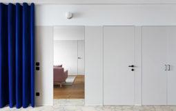 """Thiết kế nội thất Căn Hộ Chung Cư với """" Rèm Cửa """" màu xanh"""
