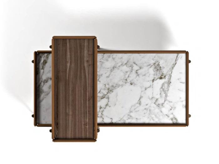 Bàn cà phê đá cẩm thạch hình chữ nhật