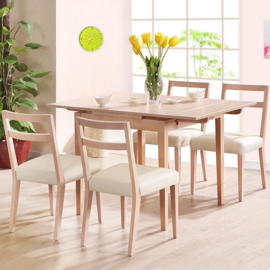 Bộ bàn ăn 4 ghế phối màu gỗ MDF - trắng lạ mắt, trẻ trung