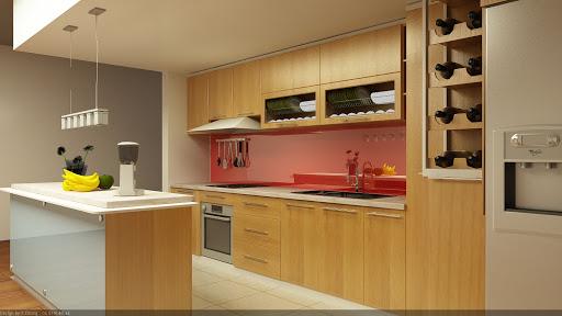 Hệ thống tủ bếp chữ L làm từ gỗ công nghiệp MDF An Cường hiện đại