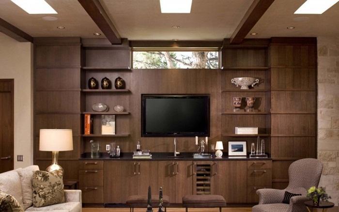 Phòng khách ốp vách gỗ công nghiệp MDF sang trọng