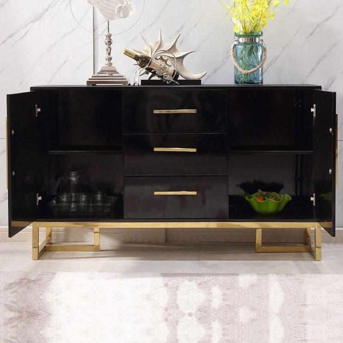 Tủ trang trí mạ vàng