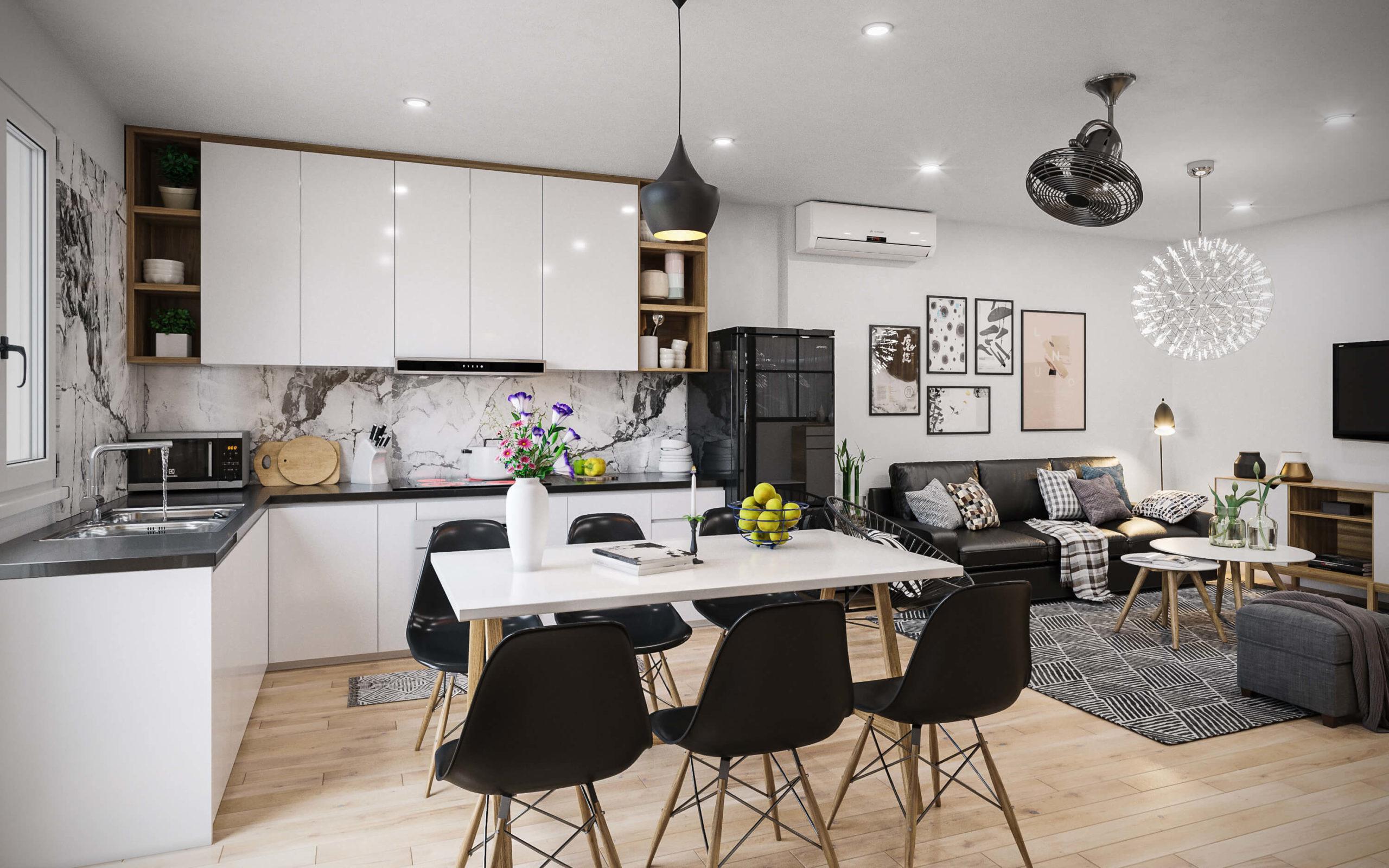 Thiết kế phòng khách liền bếp chung cư 2