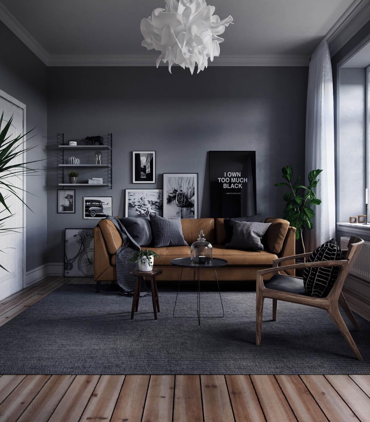 Chọn ghế sofa có màu trầm trong phong cách bắc âu