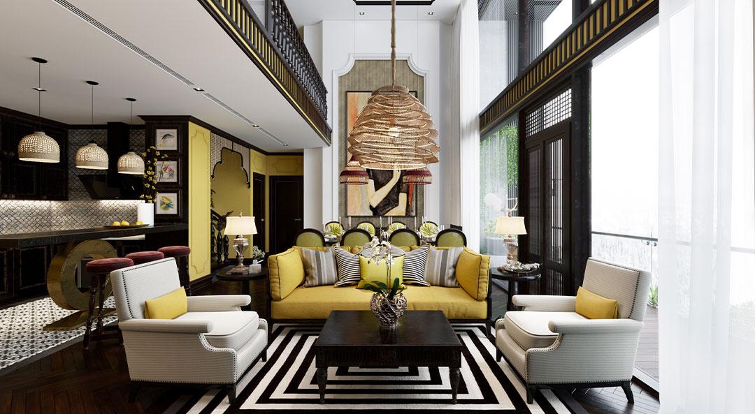 Phòng khách phong cách Indochine
