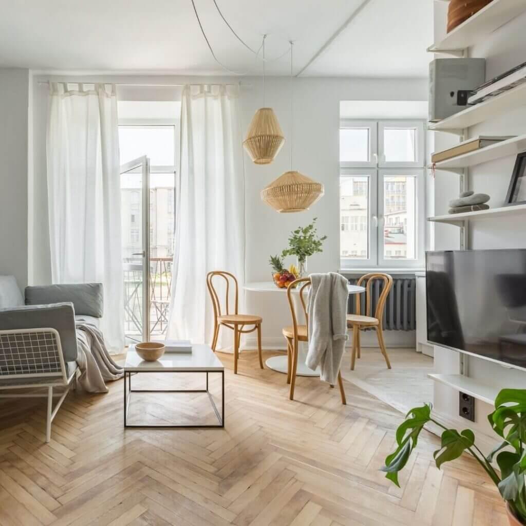 Phong cách thiết kế Bắc Âu với sàn gỗ sáng màu