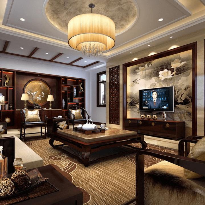 Thiết kế phòng khách theo phong cách thiết kế Á Đông