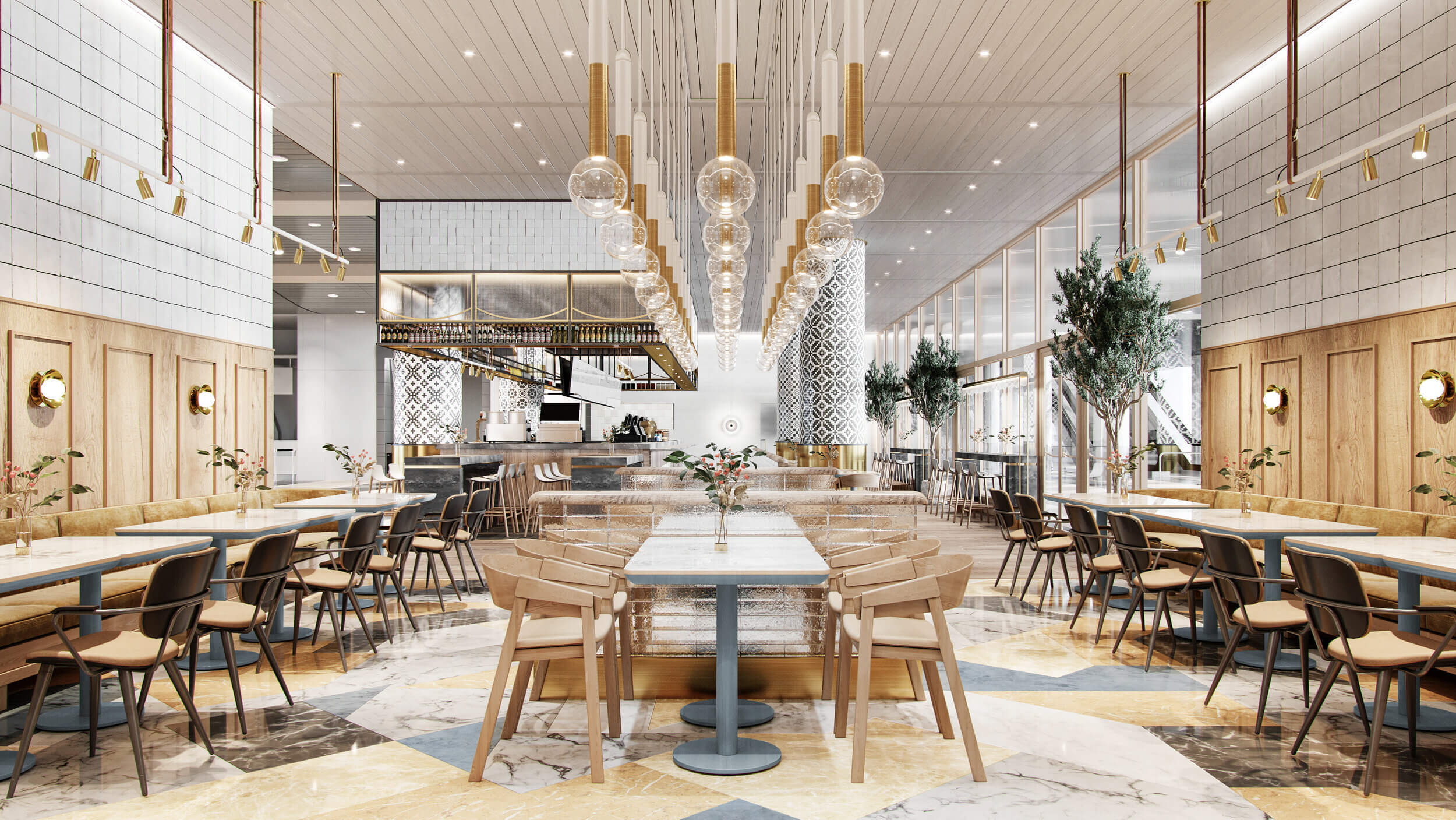 Nội thất gỗ nhà hàng hiện đại