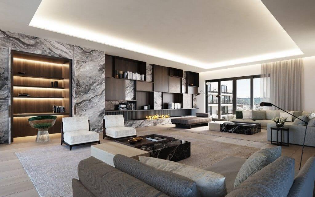 Phòng khách chung cư penthouse