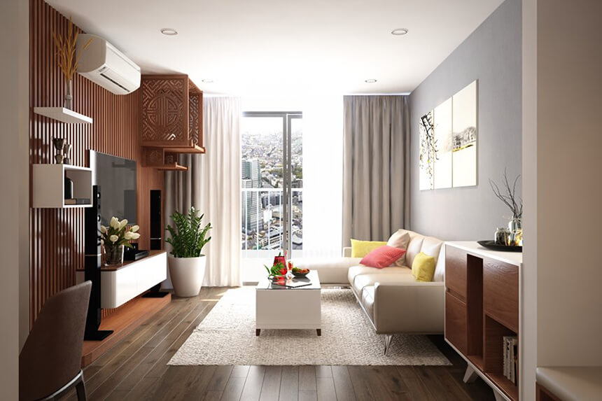 Tận dụng góc tường phòng khách chung cư