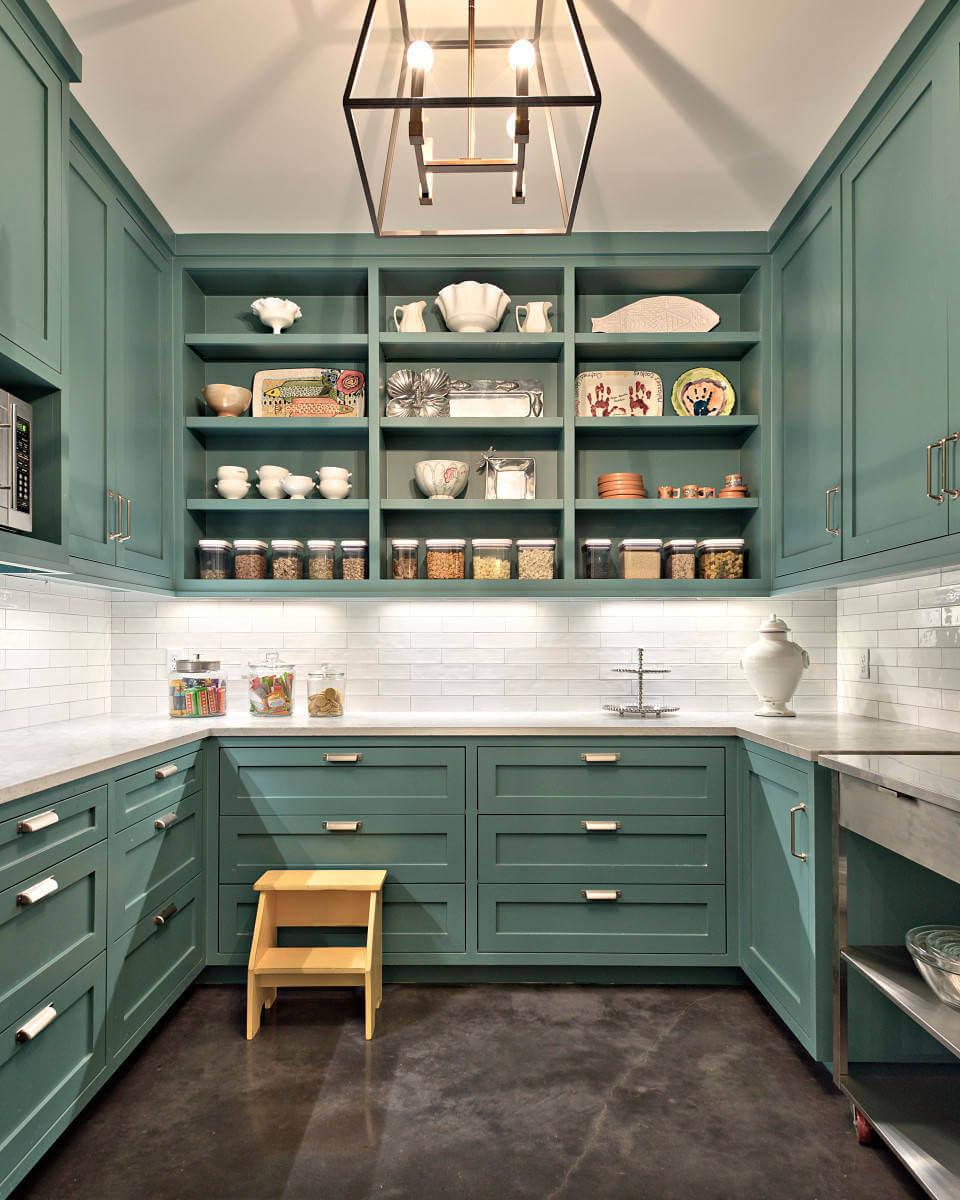 Tủ bếp màu xanh ngọc